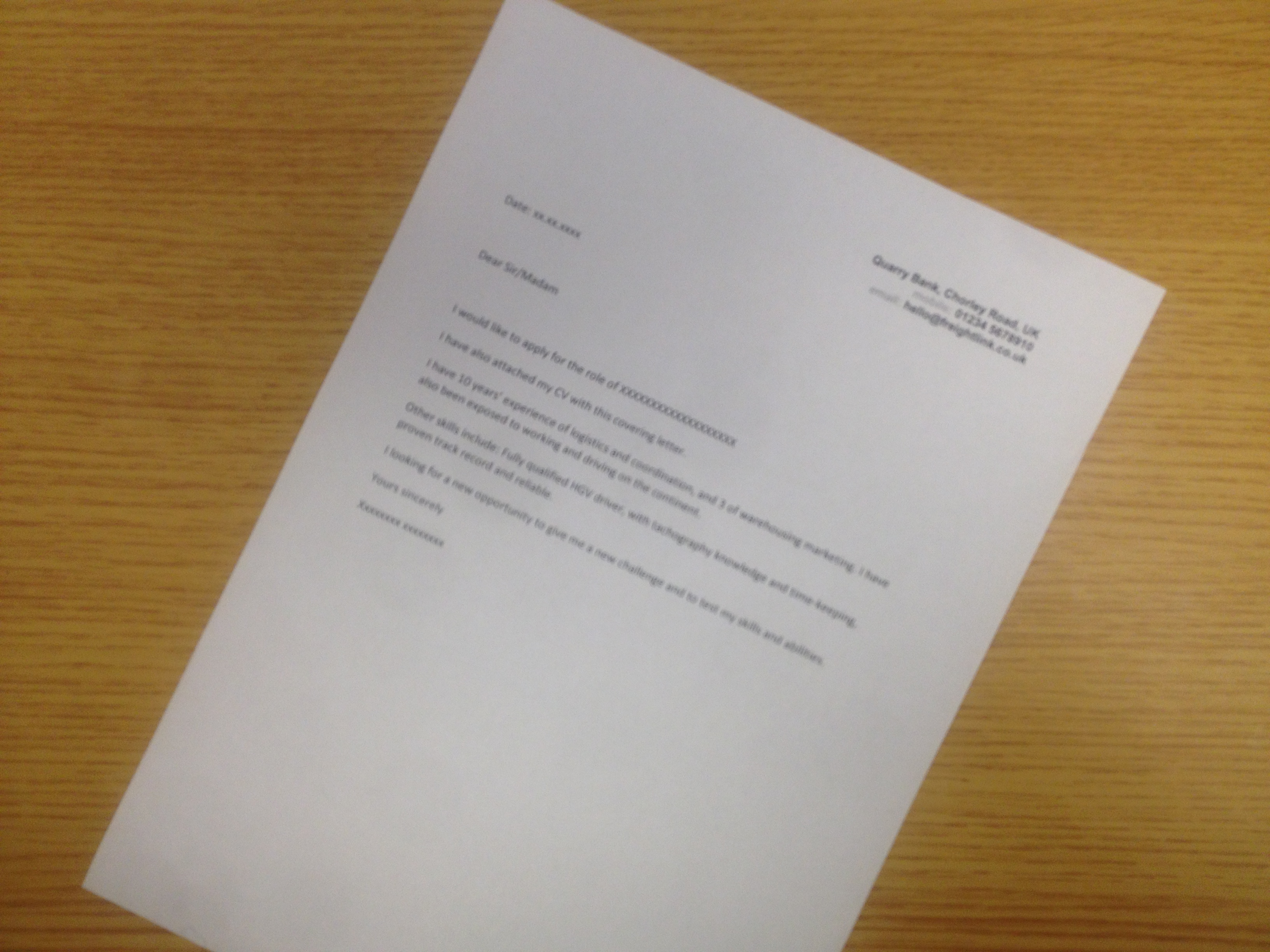 it covering letter