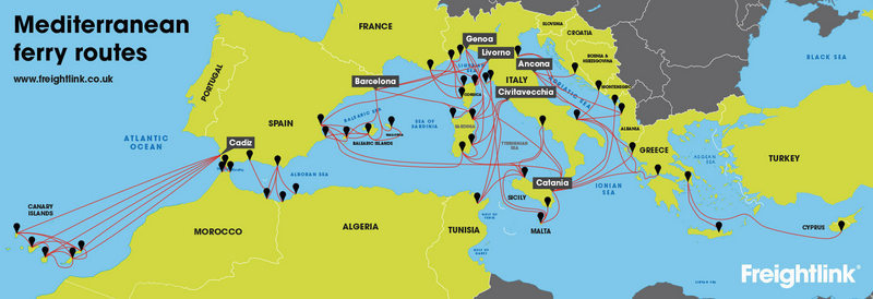 Mediterranean ferry routes