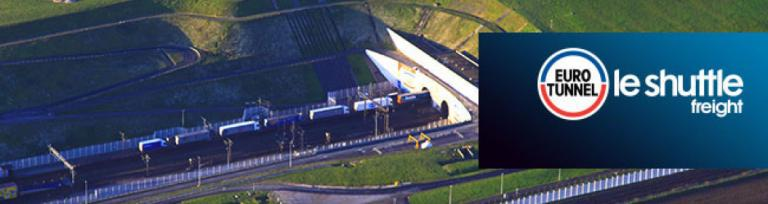 Eurotunnel freight train entering tunnel