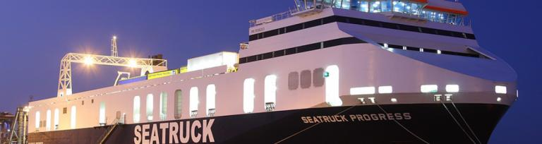 Example of Seatruck freight ferry moored at Port