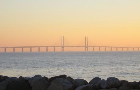 Sweden-Denmark Öresund bridge at sunset.