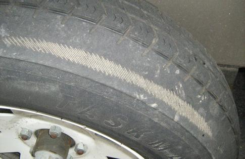 severe under inflated tyre